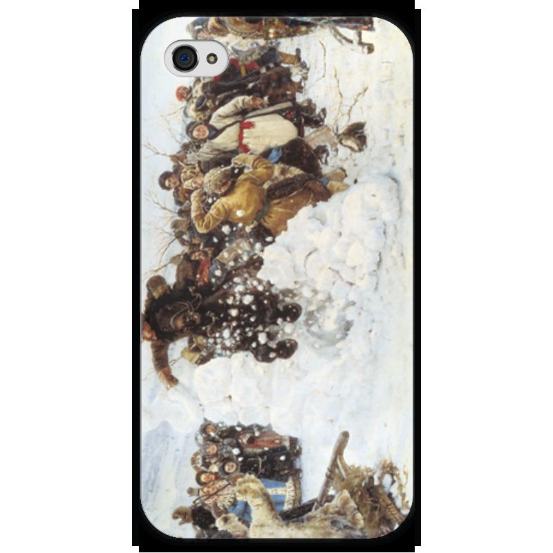 Чехол для iPhone 4 глянцевый, с полной запечаткой Printio Взятие снежного городка (суриков) суриков и е гомер