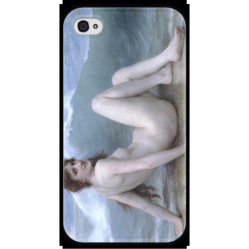 все цены на Чехол для iPhone 4 глянцевый, с полной запечаткой Printio Волна (картина бугро) онлайн