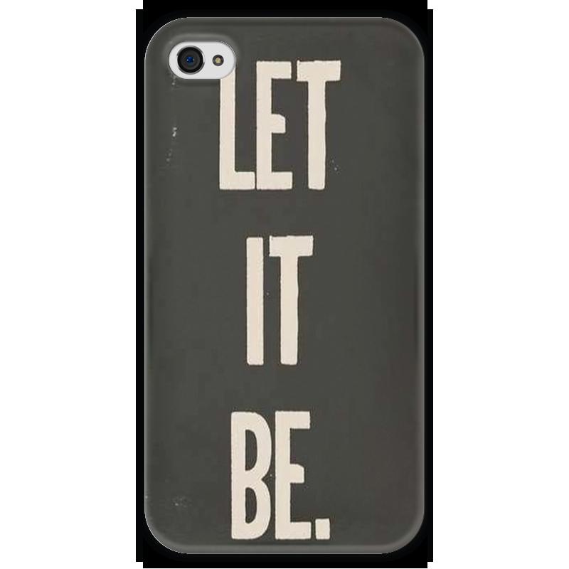Чехол для iPhone 4 глянцевый, с полной запечаткой Printio Let it be cd beatles let it be