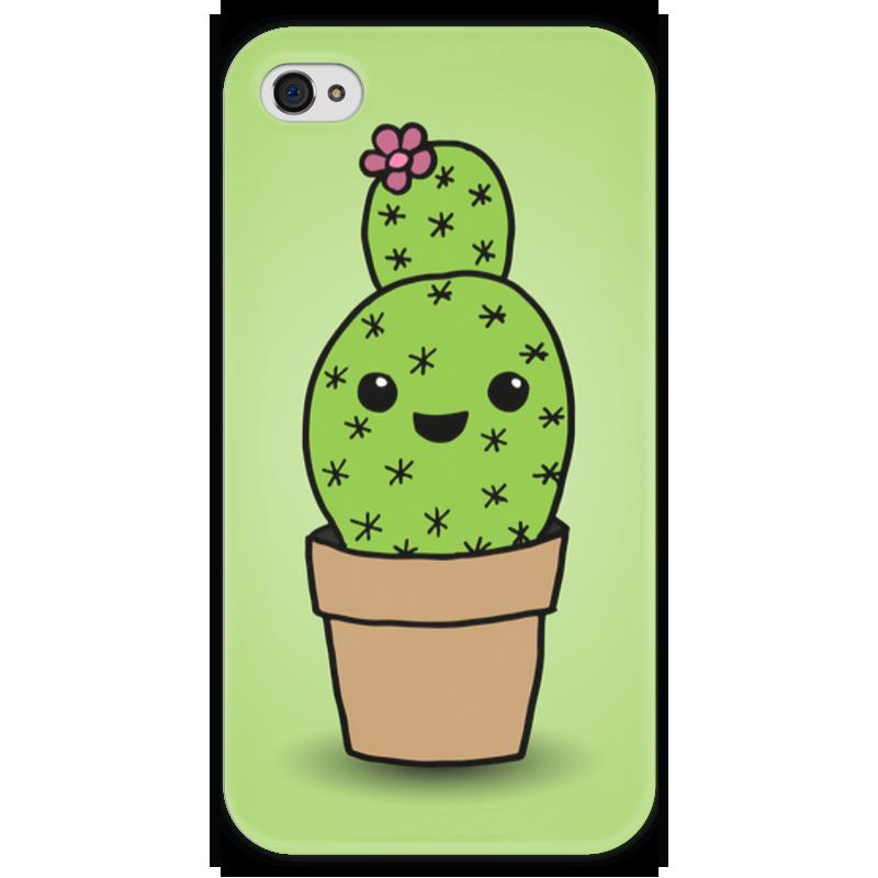 Чехол для iPhone 4 глянцевый, с полной запечаткой Printio Милый кактус