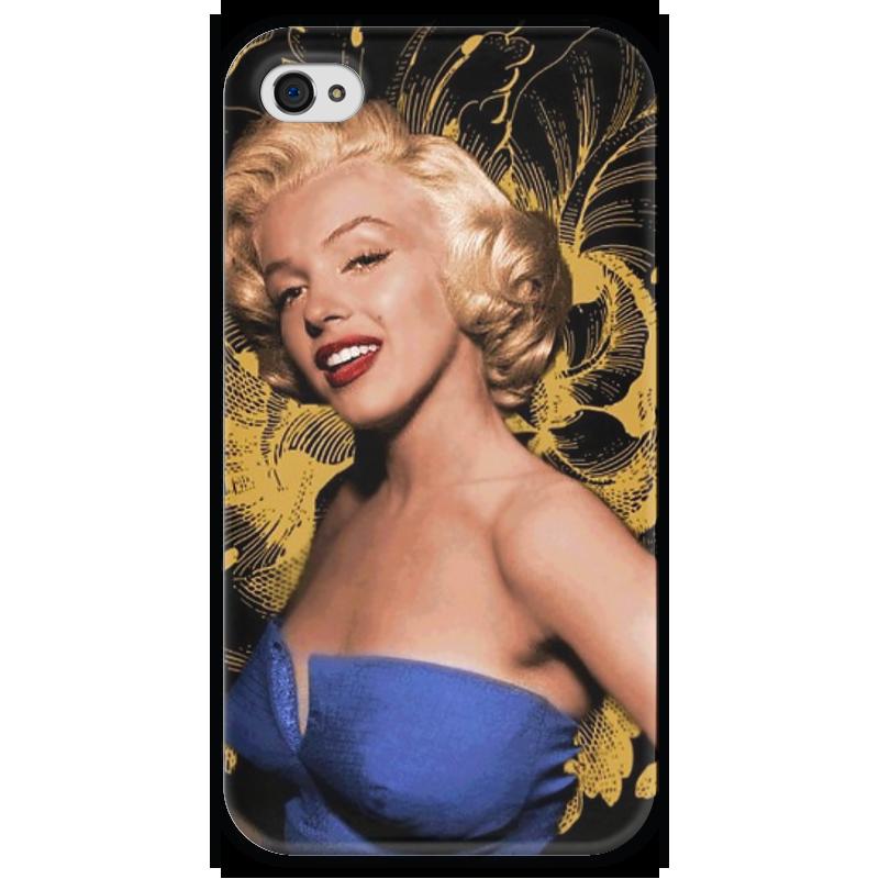 Чехол для iPhone 4 глянцевый, с полной запечаткой Printio Monroe купить чехол для айфона 4 с камнями