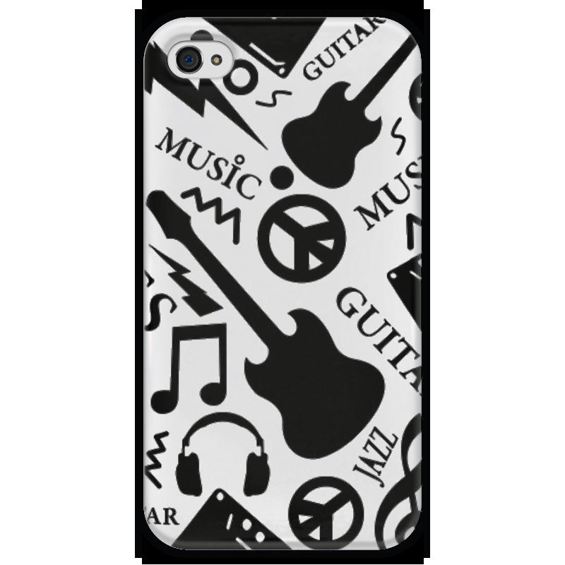 Чехол для iPhone 4 глянцевый, с полной запечаткой Printio Музыка