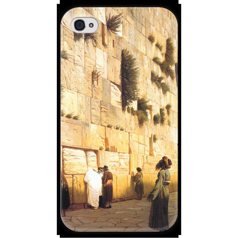 Чехол для iPhone 4 глянцевый, с полной запечаткой Printio Стена плача (жан-леон жером) чехол для iphone 5 глянцевый с полной запечаткой printio последняя молитва христианских мучеников жером