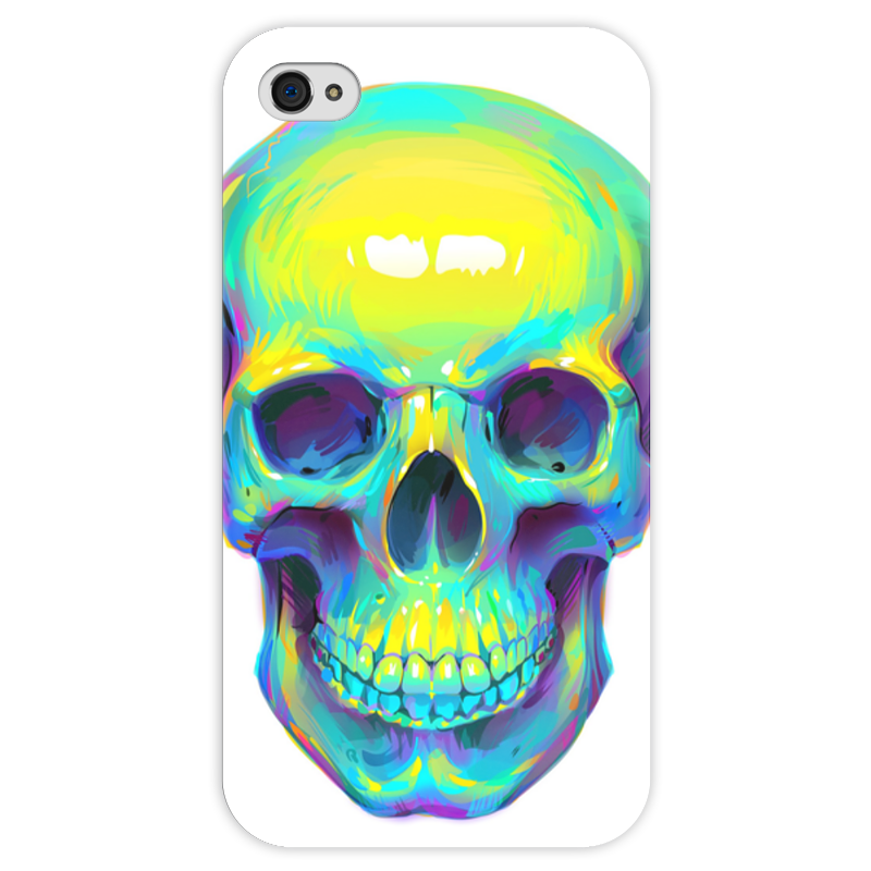 Чехол для iPhone 4 глянцевый, с полной запечаткой Printio Colorfull skull чехол для iphone 4 глянцевый с полной запечаткой printio skull girl