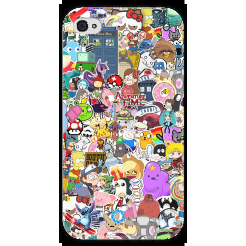 Чехол для iPhone 4 глянцевый, с полной запечаткой Printio Stickers чехол для iphone 4 глянцевый с полной запечаткой printio пиво