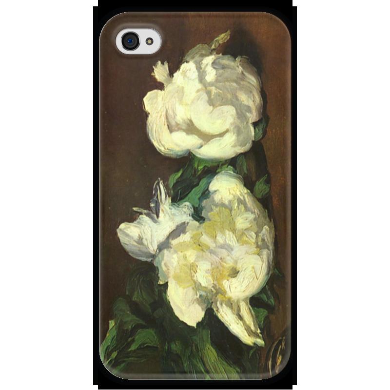 Чехол для iPhone 4 глянцевый, с полной запечаткой Printio Белые пионы чехлы для телефонов chocopony чехол для iphone 7plus белые пионы арт 7plus 228