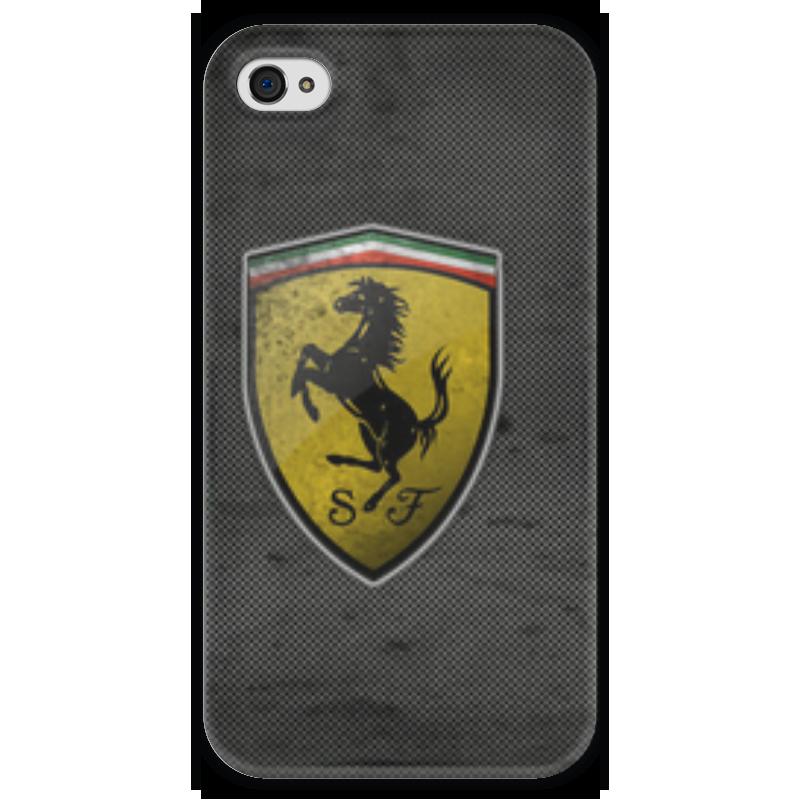 Чехол для iPhone 4 глянцевый, с полной запечаткой Printio Ferrari logo чехол для iphone 5c ferrari ff collection flip feffflpmre red