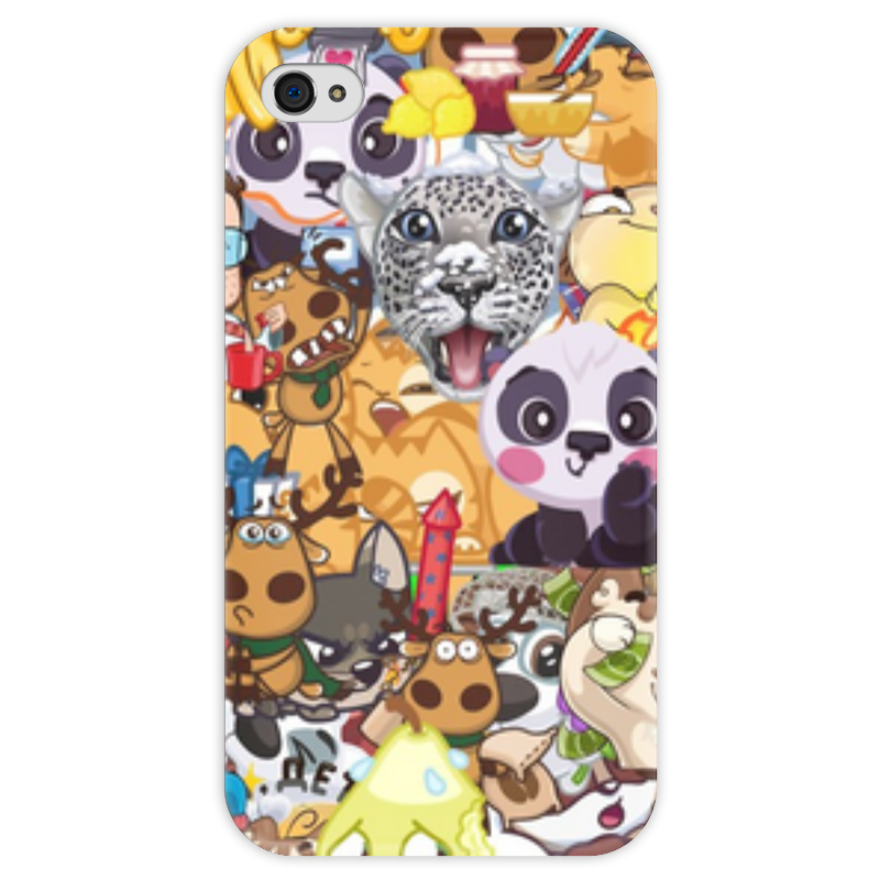 Чехол для iPhone 4 глянцевый, с полной запечаткой Printio Стикерs чехол для iphone 4 глянцевый с полной запечаткой printio иллидан