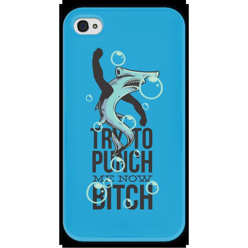 Чехол для iPhone 4 глянцевый, с полной запечаткой Printio Акула чехол для iphone 4 глянцевый с полной запечаткой printio эфиопка