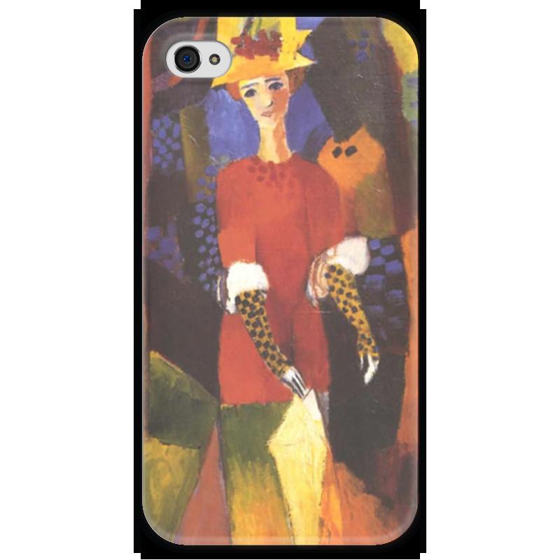 Чехол для iPhone 4 глянцевый, с полной запечаткой Printio Женщина в парке (август маке) чехол для iphone 4 глянцевый с полной запечаткой printio шляпный магазин август маке