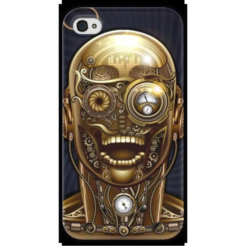 Чехол для iPhone 4 глянцевый, с полной запечаткой Printio Стимпанк-голова