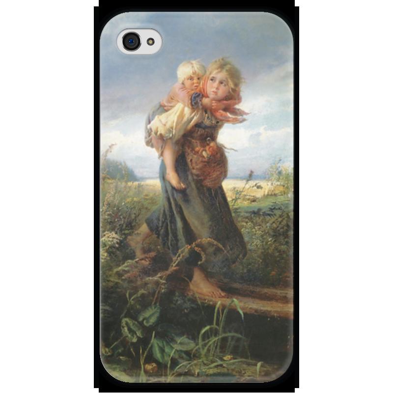 Чехол для iPhone 4 глянцевый, с полной запечаткой Printio Дети, бегущие от грозы (константин маковский) торт printio набережная в крыму константин коровин