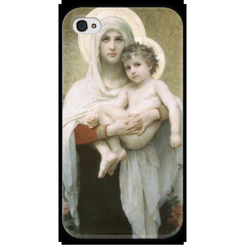 Чехол для iPhone 4 глянцевый, с полной запечаткой Printio Мадонна с розами (la madone aux roses)