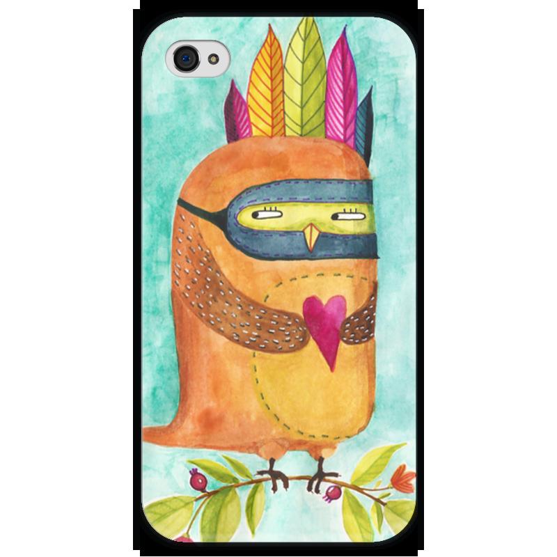 Чехол для iPhone 4 глянцевый, с полной запечаткой Printio Рыжая сова индеец
