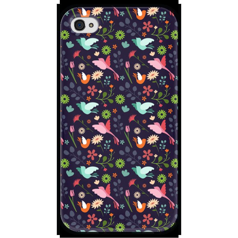 Чехол для iPhone 4 глянцевый, с полной запечаткой Printio Birds & flowers