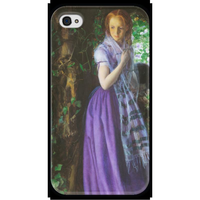 Чехол для iPhone 4 глянцевый, с полной запечаткой Printio Апрельская любовь (картина артура хьюза) обложка для паспорта printio sunday картина артура хьюза