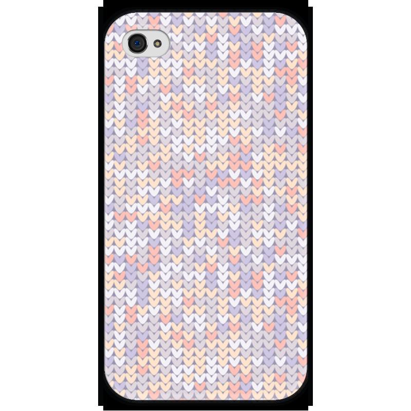 Чехол для iPhone 4 глянцевый, с полной запечаткой Printio Сиреневый вязаный узор чехол для iphone 4 глянцевый с полной запечаткой printio эфиопка