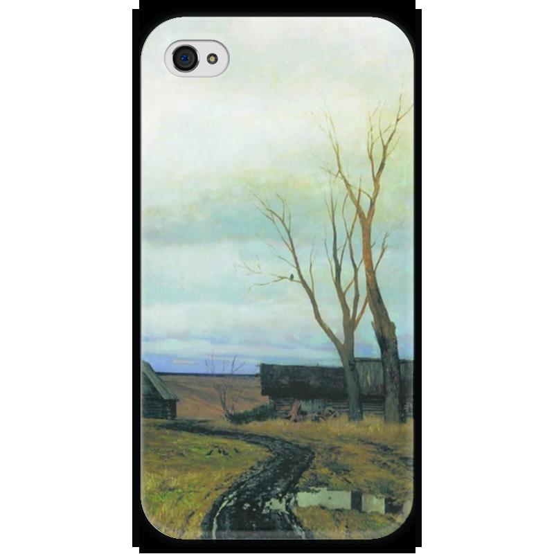 Чехол для iPhone 4 глянцевый, с полной запечаткой Printio Осень. дорога в деревне (левитан) дом в деревне с большим участком недорого
