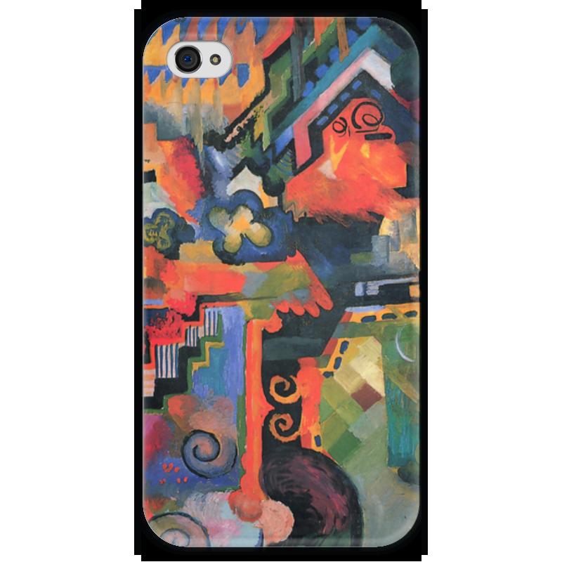 Чехол для iPhone 4 глянцевый, с полной запечаткой Printio Цветная композиция  (август маке) чехол для iphone 4 глянцевый с полной запечаткой printio шляпный магазин август маке