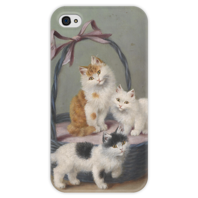 Чехол для iPhone 4 глянцевый, с полной запечаткой Printio Котята в корзине (софи шперлих) искусственные ромашки в корзине