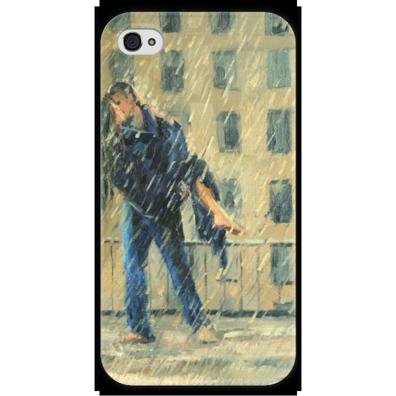Чехол для iPhone 4 глянцевый, с полной запечаткой Printio Поцелуй под дождем! funny smile валентин пикуль под золотым дождем