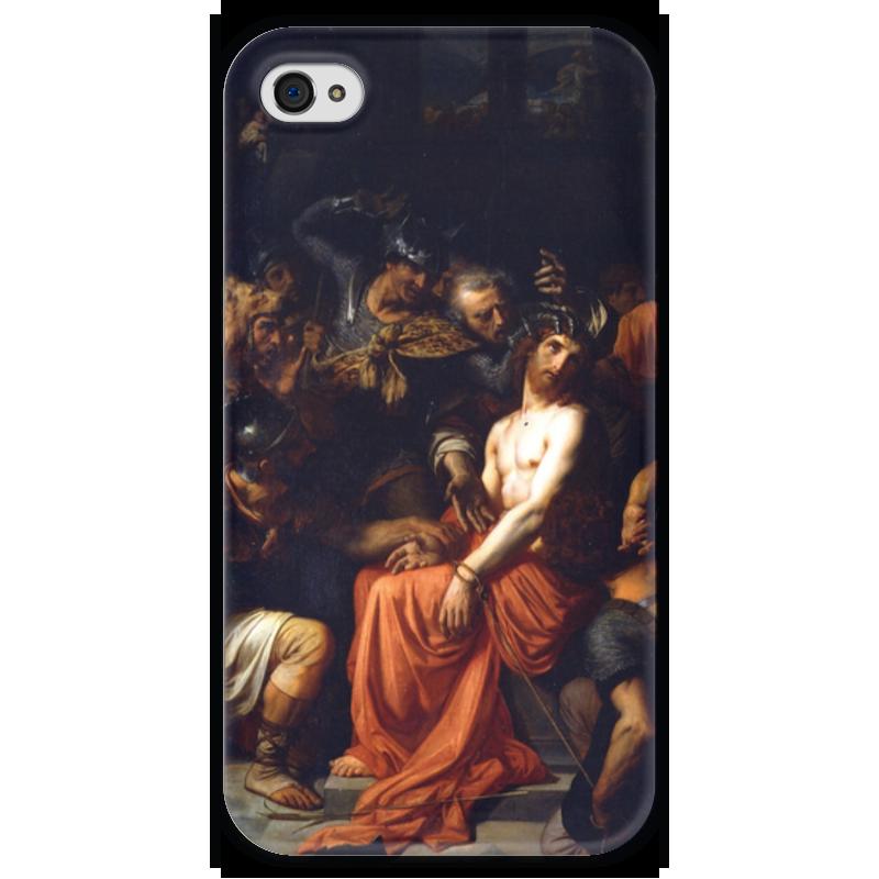 где купить Чехол для iPhone 4 глянцевый, с полной запечаткой Printio Поругание христа (картина кабанеля) дешево