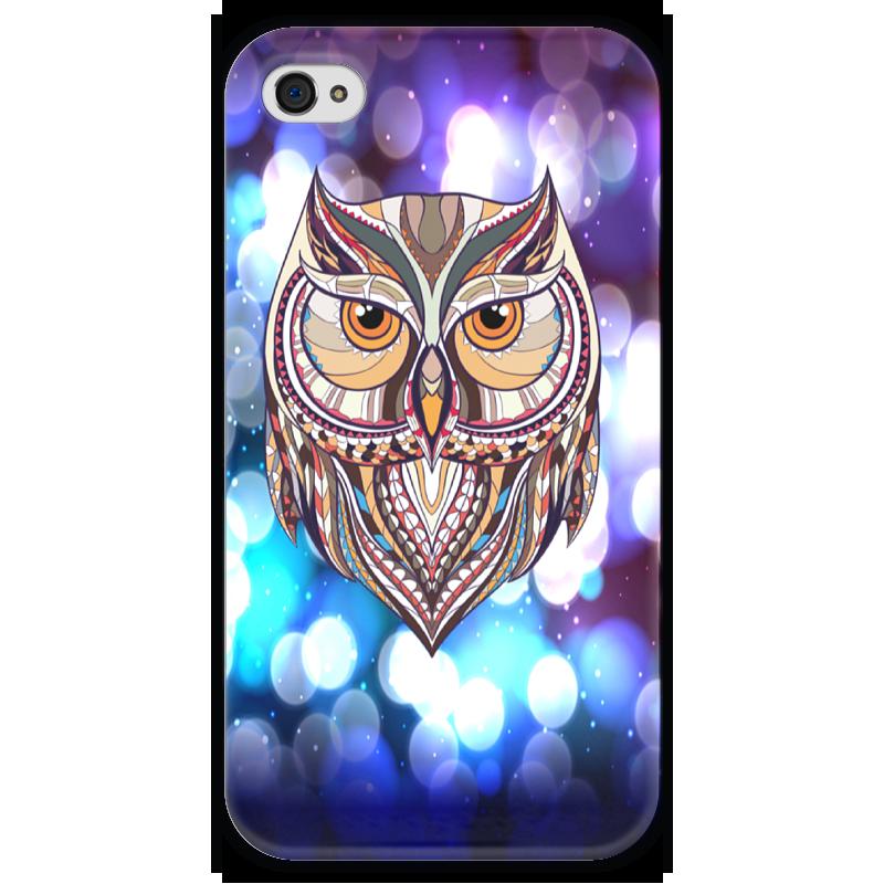 Чехол для iPhone 4 глянцевый, с полной запечаткой Printio Сова в красках чехол для iphone 4 глянцевый с полной запечаткой printio эфиопка