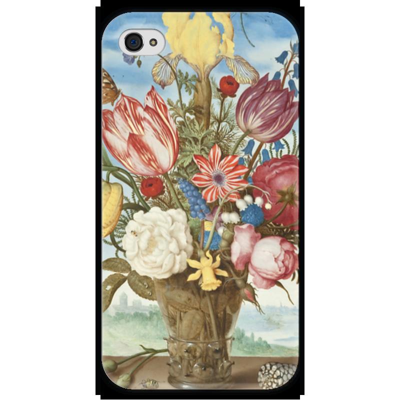 Чехол для iPhone 4 глянцевый, с полной запечаткой Printio Букет цветов на полке (амброзиус босхарт) амброзиус босхарт