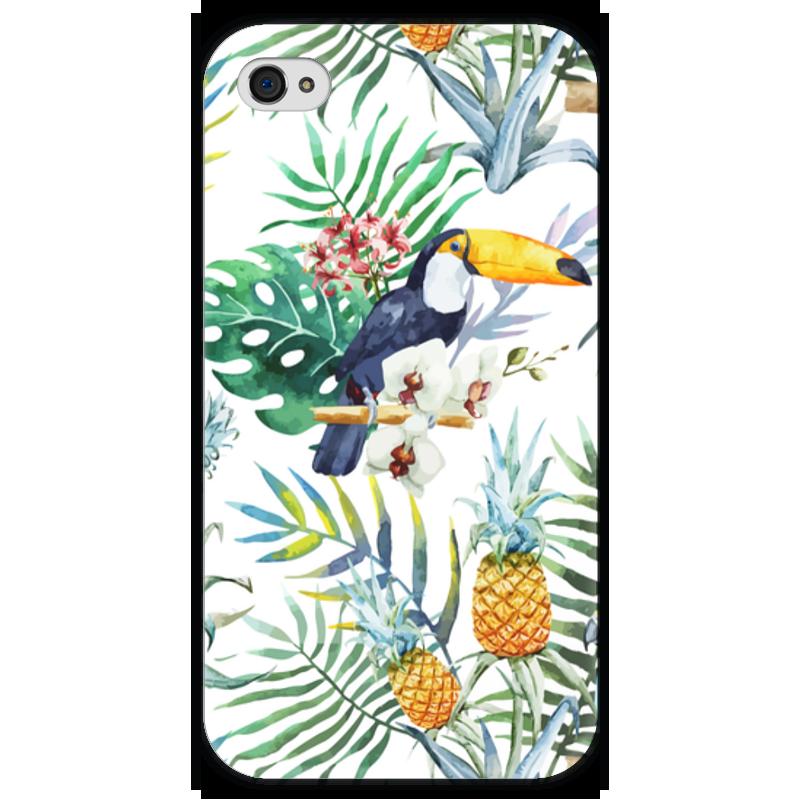 Чехол для iPhone 4 глянцевый, с полной запечаткой Printio Экзотические цветы чехол для iphone 4 глянцевый с полной запечаткой printio эфиопка
