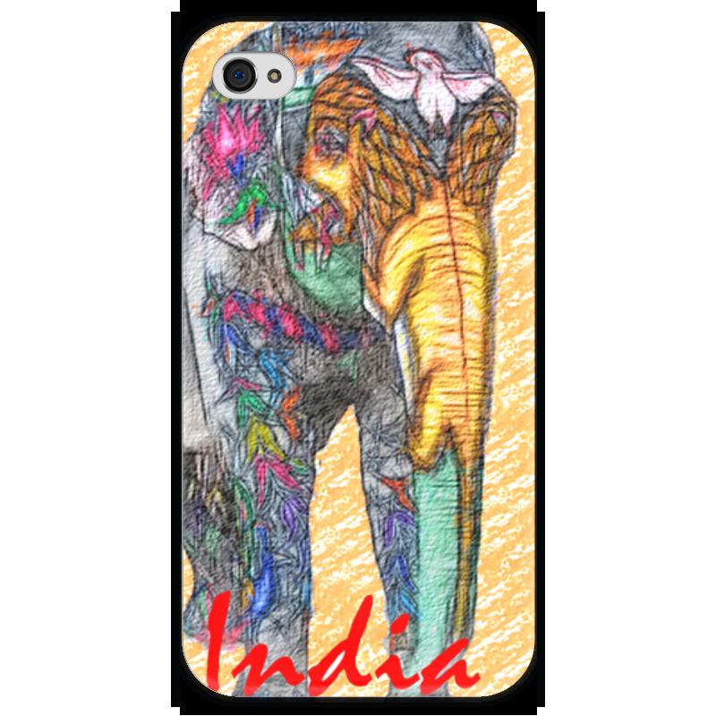Чехол для iPhone 4 глянцевый, с полной запечаткой Printio Индийский слон чехол для iphone 4 глянцевый с полной запечаткой printio эфиопка