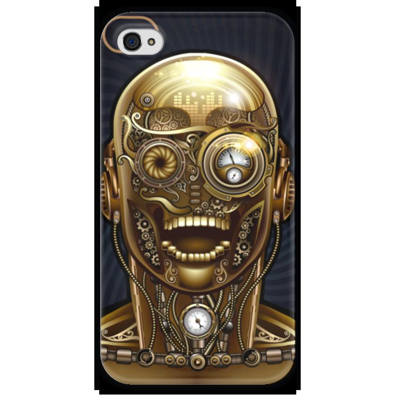 Чехол для iPhone 4 глянцевый, с полной запечаткой Printio Стимпанк-голова чехол для iphone 4 глянцевый с полной запечаткой printio эфиопка