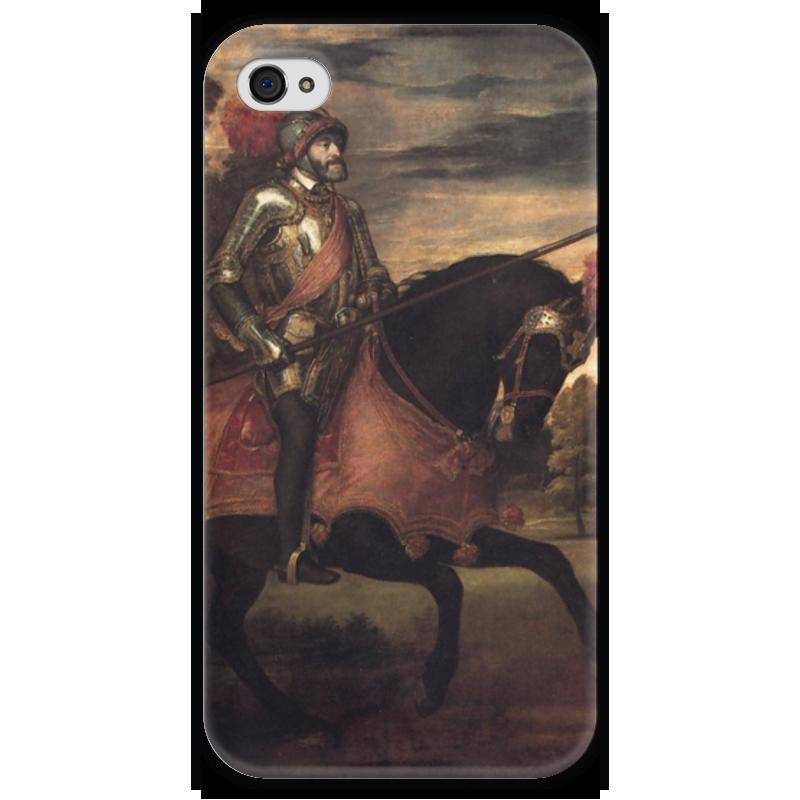 Чехол для iPhone 4 глянцевый, с полной запечаткой Printio Конный портрет карла v (тициан)
