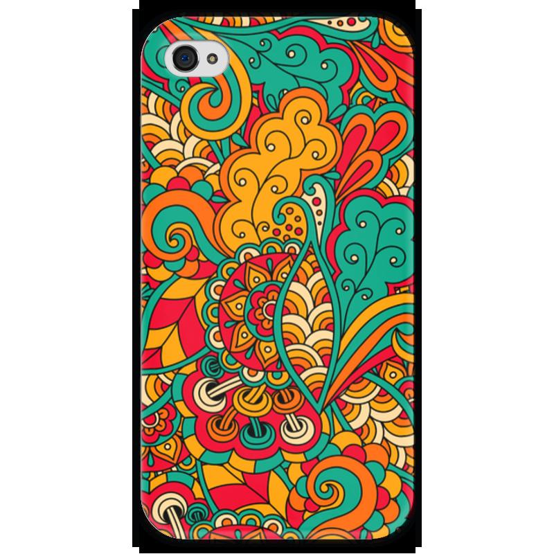 Чехол для iPhone 4 глянцевый, с полной запечаткой Printio Цветочный орнамент чехол для iphone 4 глянцевый с полной запечаткой printio эфиопка