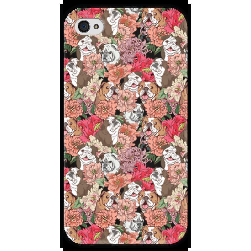 Чехол для iPhone 4 глянцевый, с полной запечаткой Printio Dogs and flowers все цены