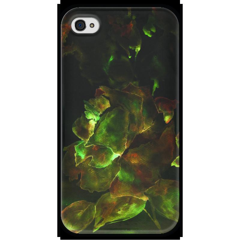 Чехол для iPhone 4 глянцевый, с полной запечаткой Printio Золотая роза пламенная роза тюдоров