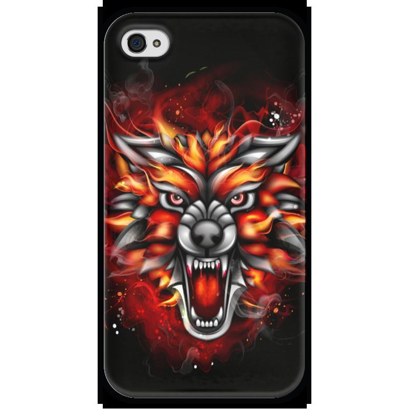 Чехол для iPhone 4 глянцевый, с полной запечаткой Printio Wolf & fire чехол для iphone 4 глянцевый с полной запечаткой printio эфиопка