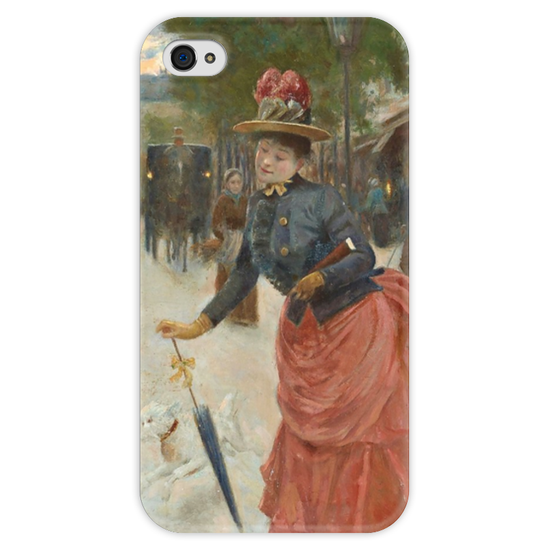 Чехол для iPhone 4 глянцевый, с полной запечаткой Printio Элегантная дама на бульваре (жан беро) салонный фильтр мазда демио dy3w