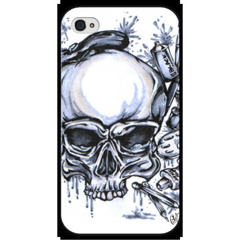 Чехол для iPhone 4 глянцевый, с полной запечаткой Printio Череп художник