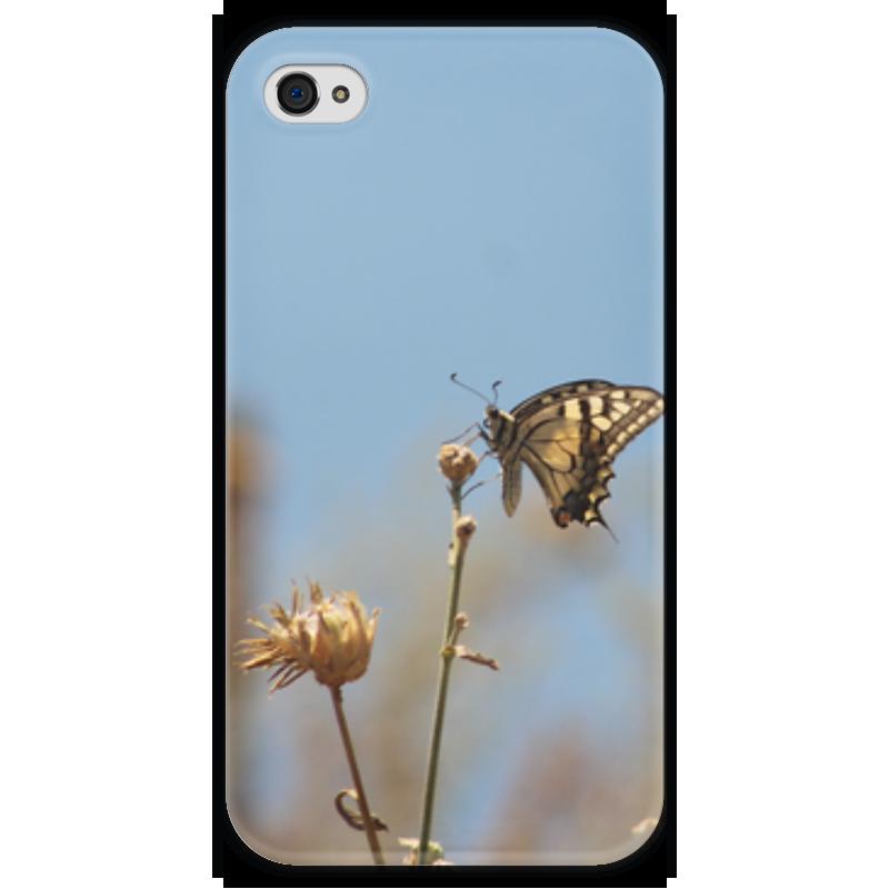 Чехол для iPhone 4 глянцевый, с полной запечаткой Printio Бабочка махаон