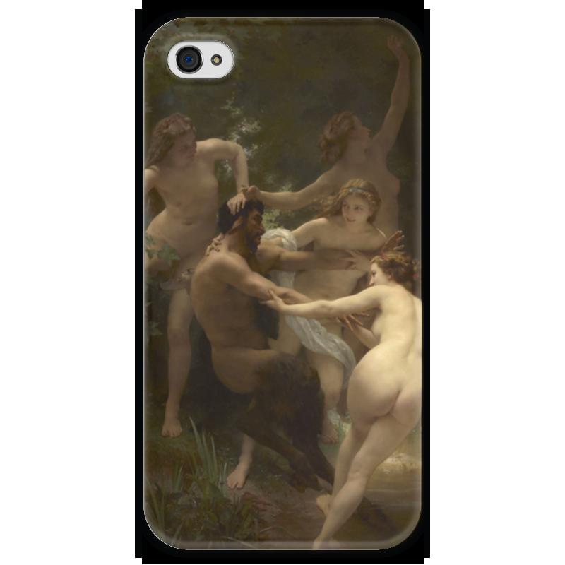Чехол для iPhone 4 глянцевый, с полной запечаткой Printio Нимфы и сатир (вильям бугро) сатир в коммуникация в психотерапии