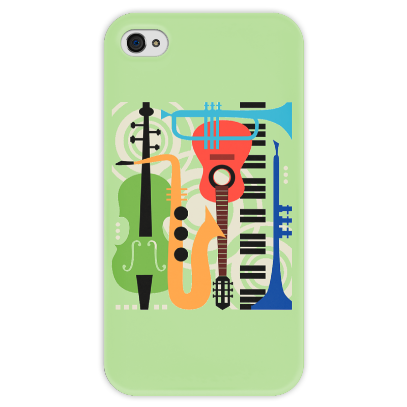 Чехол для iPhone 4 глянцевый, с полной запечаткой Printio Музыкальные инструменты
