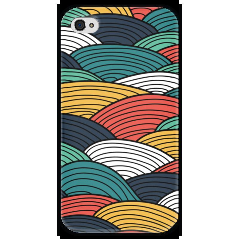 Чехол для iPhone 4 глянцевый, с полной запечаткой Printio Цветные волны