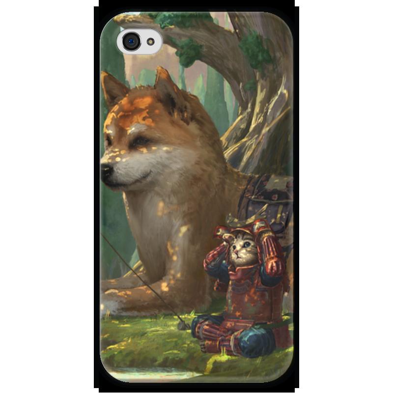 Чехол для iPhone 4 глянцевый, с полной запечаткой Printio Samurai cat ninja kung fu cat samurai pizza cat taro