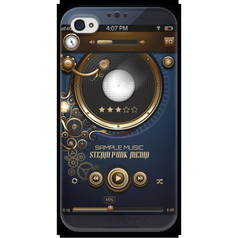 Чехол для iPhone 4 глянцевый, с полной запечаткой Printio Стимпанк-музыка