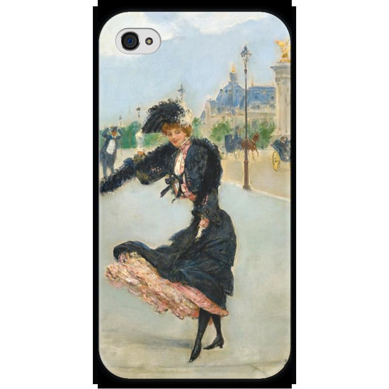 Чехол для iPhone 4 глянцевый, с полной запечаткой Printio Дама на мосту александра iii (жан беро) вышивка на аничковом мосту