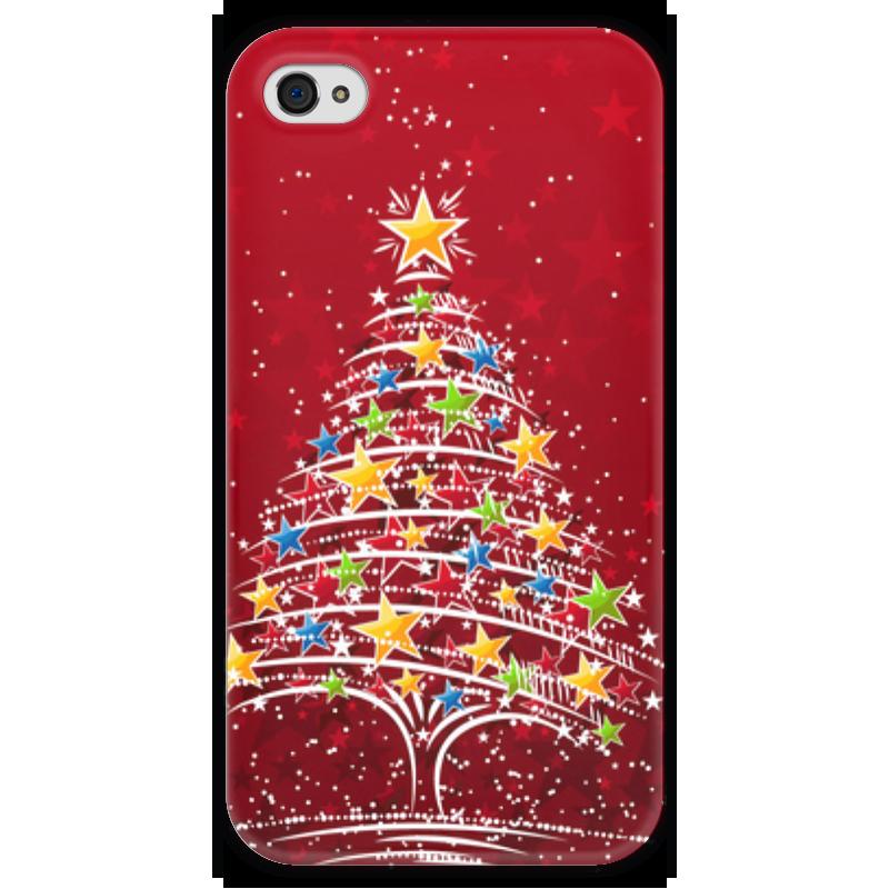 Чехол для iPhone 4 глянцевый, с полной запечаткой Printio Новогодняя елочка чехол для iphone 4 глянцевый с полной запечаткой printio эфиопка