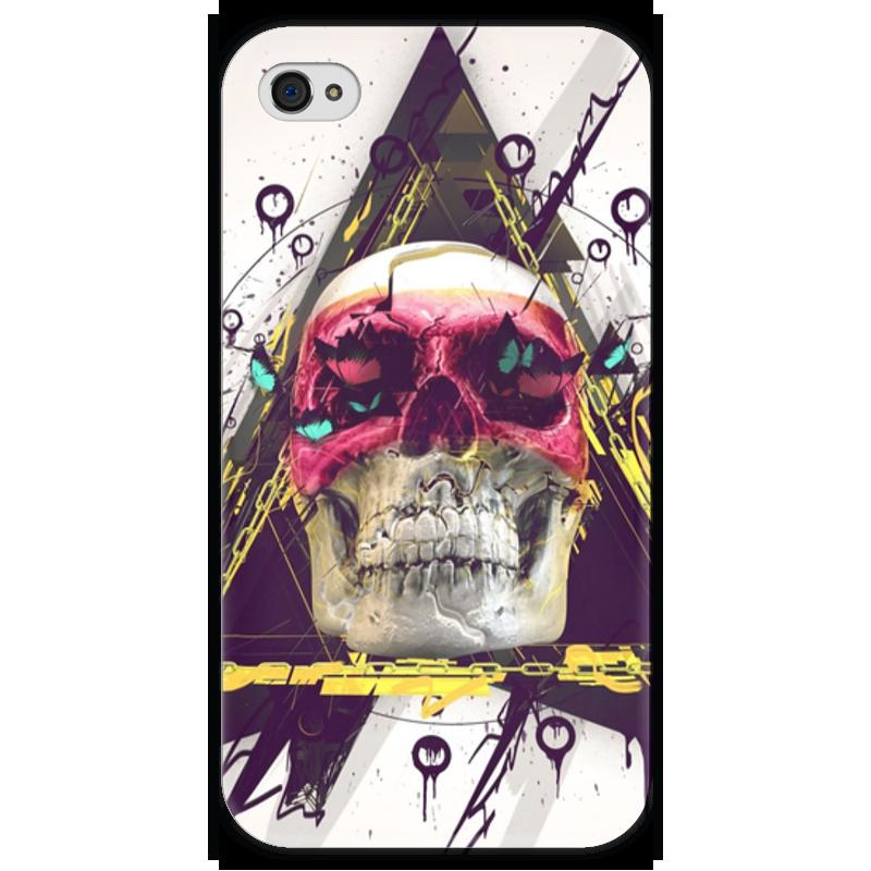Чехол для iPhone 4 глянцевый, с полной запечаткой Printio Skull in triangle чехол для iphone 4 глянцевый с полной запечаткой printio skull girl