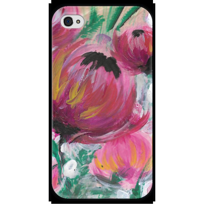 Чехол для iPhone 4 глянцевый, с полной запечаткой Printio Полевые цветы