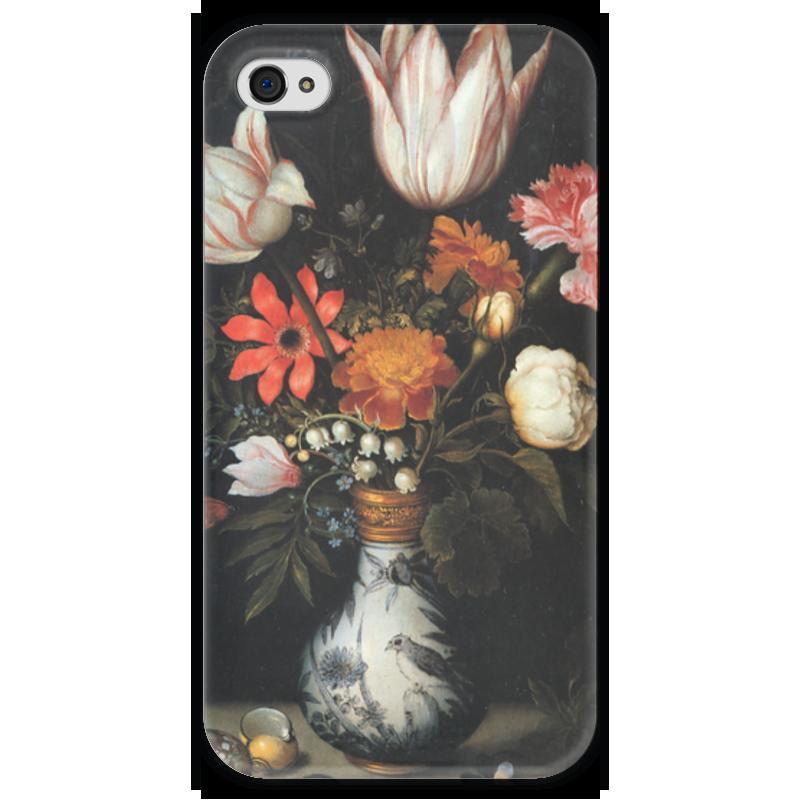 где купить Чехол для iPhone 4 глянцевый, с полной запечаткой Printio Тюльпаны, розы и другие цветы в вазе (босхарт) по лучшей цене