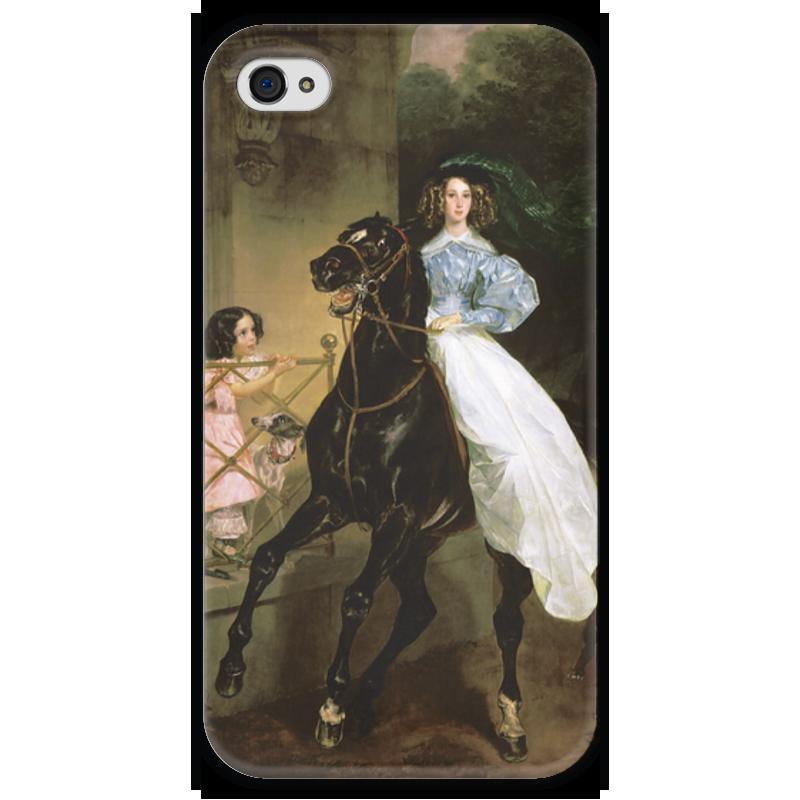 Чехол для iPhone 4 глянцевый, с полной запечаткой Printio Всадница (картина карла брюллова) петр орловец приключения карла фрейберга
